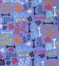 Blizzard Fleece Fabric-Grr Ruff Words On Blue