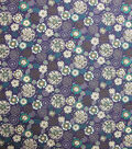 Quilter\u0027s Showcase Cotton Fabric-Begie & Teal Floral Medallion on Purple