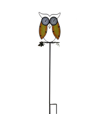 Simply Autumn Owl Temperature Yard Stake
