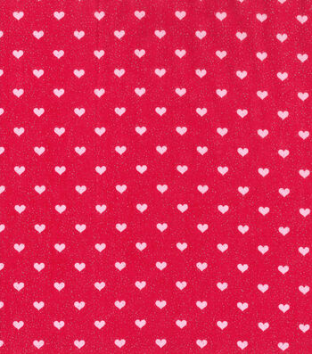 Valentine's Day Glitter Fabric 43''-Red with Pink Hearts