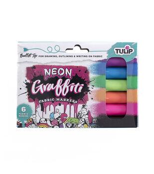 Tulip 6 pk Graffiti Bullet Tip Fabric Markers-Neon
