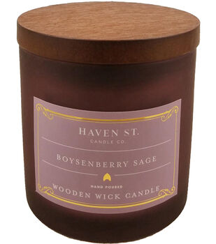 Haven St. Candle Co. 5 oz. Boysenberry Sage Scented Wooden Wick Candle