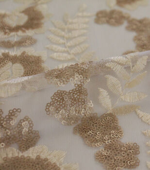 Embroidered Sequin Mesh Fabric-Champagne Leaf