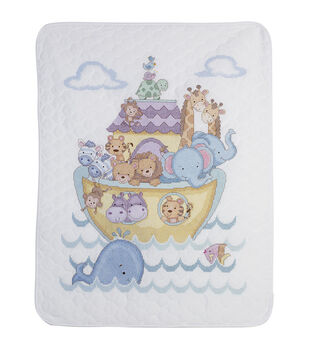 "Noah's Ark Crib Cover stamped-cross-stitch Kit-34""X43"""