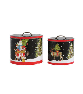 3R Studios Christmas 2 pk Decorative Tin Containers with Lids