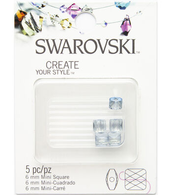Swarovski 6mm Mini Square Beads 5/Pkg-Blue Shade