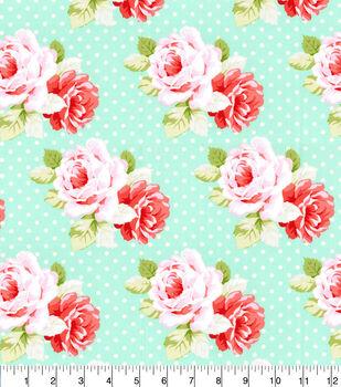 Premium Cotton Fabric-Aqua Floral Dot