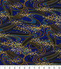 Asian Inspired Cotton Fabric 44\u0022-Navy Rolling Waves Met