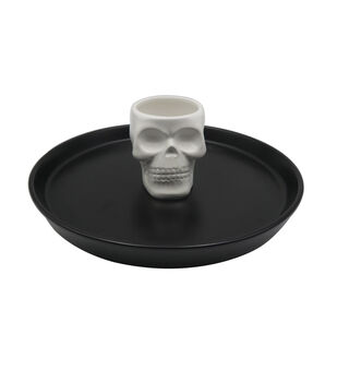 Maker's Halloween Ceramic Skeleton Chip & Dip Serving Set