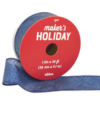 Maker's Holiday Christmas Glitter Ribbon 1.5''x30'-Navy Blue