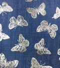 Doodles Juvenile Apparel Fabric -Butterfly Foil on Denim