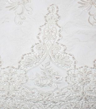 """Gianna Beaded Embroidery on Lace Fabric 52"""""""