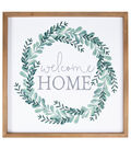 Simply Spring Framed Art Wall Decor-Welcome Home & Greenery Wreath