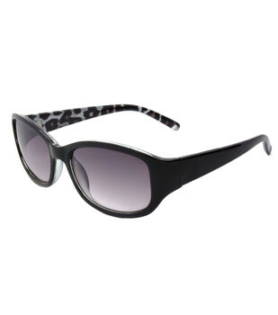 Sunglasses with Rectangle Frame-Black Leopard Print