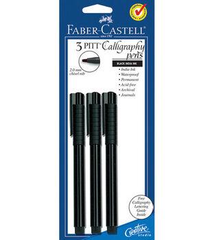 PITT Calligraphy Pen 2mm Chisel Tip 3/Pkg-Black