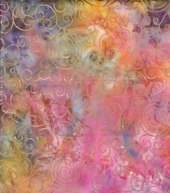 "Batik Cotton Fabric 44""-Bright Rainbow Scrolls Metallic"