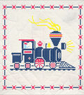 Fairway Needlecraft 6 pk 17.25\u0027\u0027x17.25\u0027\u0027 Stamped Quilt Blocks-Train