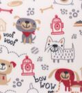 Blizzard Fleece Fabric -Sketched Dogs On Tan