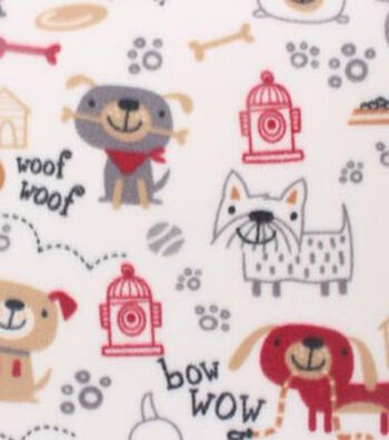 """Blizzard Fleece Fabric 59""""-Sketched Dogs On Tan"""