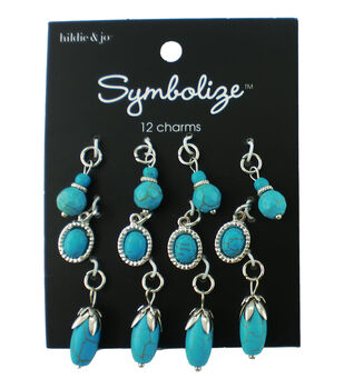 hildie & jo Symbolize 12 pk Multi Silver Charms-Turquoise Beads