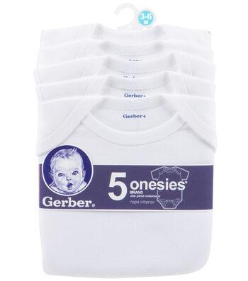 Gerber 5pk White Onesies 3-6M