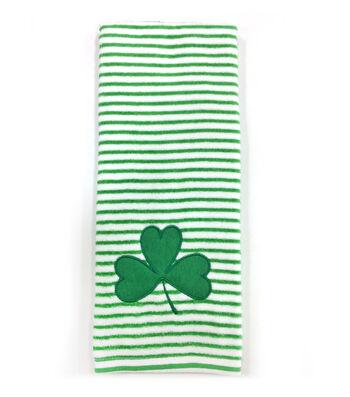 St. Patrick's Day 28''x16'' Towel-Clover on Stripes