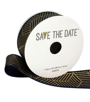 """Save the Date 1.5"""" x 15ft Ribbon-Gold Geometric On Navy"""