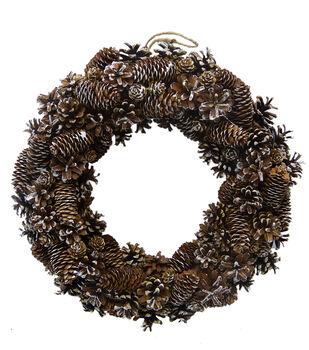 Handmade Holiday Christmas 17.72'' White Washed Pinecone Wreath