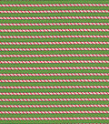 Christmas Cotton Fabric-Candy Cane Stripes on Green