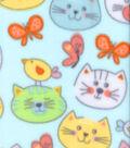 Anti-Pill Fleece Fabric 59\u0027\u0027-Cat Faces on Blue