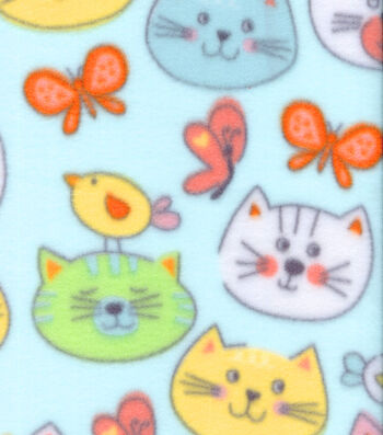 Anti-Pill Fleece Fabric 59''-Cat Faces on Blue