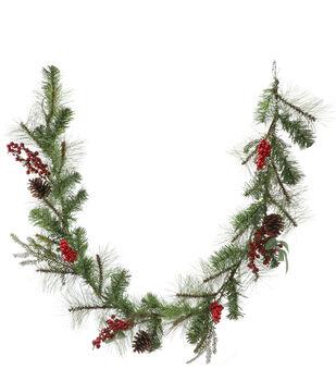 Handmade Holiday Christmas 66'' Pine, Pinecone & Red Berry Garland
