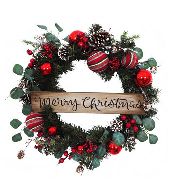 Blooming Holiday 24'' Pine & Ornament Wreath with Merry Christmas Sign