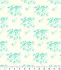 Premium Cotton Fabric-Cream and Aqua Floral