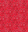 Patriotic Cotton Fabric 43\u0027\u0027-Red Bandana