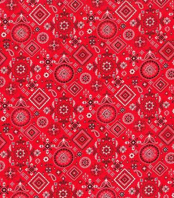 Patriotic Cotton Fabric 43''-Red Bandana
