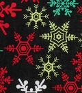 Holiday Showcase Christmas Cotton Fabric 43\u0027\u0027-Snowflakes on Black