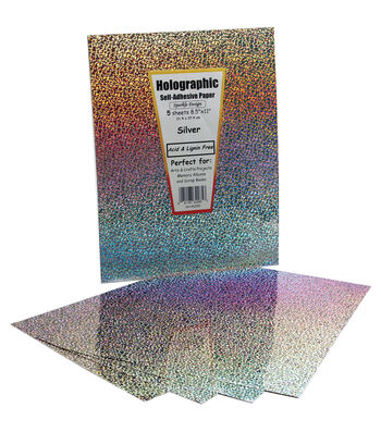 """Self-Adhesive Speciality Paper 8.5""""x11""""-Silver Holographic"""