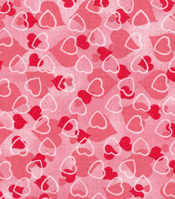 Holiday Inspirations Valentine's Day Glitter Fabric 43''-Hearts