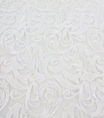Save The Date Heavy Embroidered Mesh Fabric 52''-Bright White