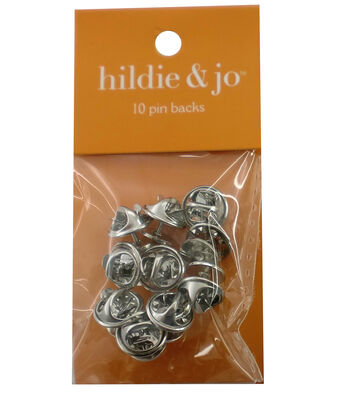 hildie & jo 10 Pack Pin Backs-Silver