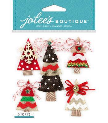 Jolee's Boutique Burlap Stickers-Holiday Trees