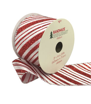 Handmade Holiday Christmas Ribbon 2.5''x25'-Red Glitter Candy Stripes