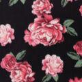 Anti-Pill Plush Fabric-Pink Roses on Black