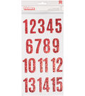 Merry Merry Thickers Stickers 5.5\u0022X11\u0022-Numbers/Red Glittered Chipboard