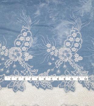 Demim Medium Wash Cotton Fabric-Embroidery Cutout Border