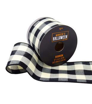 Maker's Halloween Decor Ribbon 2.5''x12'-Black & White Checks