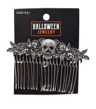 hildie & jo Halloween Jewelry Skull & Rose Hair Comb