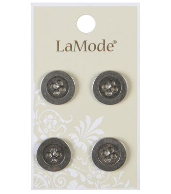 LaMode 4 Hole Antique Silver Metal Buttons 16mm