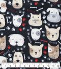 Anti-Pill Plush Fleece Fabric-Dog Faces On Black